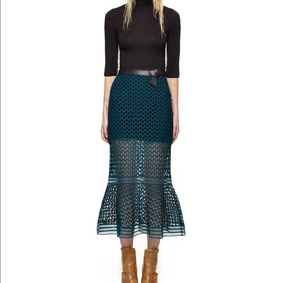 a047edbdb3 Self-Portrait Skirts   Self Portrait Green Arabesque Lace Skirt ...
